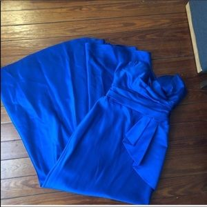 Davids bridal Royal Blue Strapless mermaid Gown 2